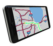 Navigation GPS Software on Smart Phone. A navigation map on a smart phone GPS app screen Royalty Free Stock Image