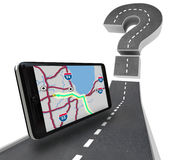 Navigation GPS Unit on Road - Question Mark Royalty Free Stock Photos
