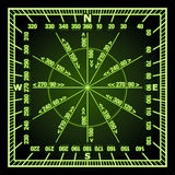 Navigation Grid. Glowing in the Dark Green Navigation Grid with Direct and Reverse Course Designation. Vector Illustration Stock Photography