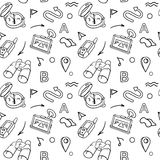 Navigation hand drawn doodles seamless pattern with car Navigator Stock Image