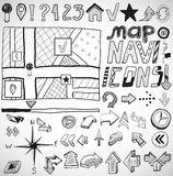 Navigation hand drawn doodles Royalty Free Stock Photos