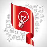 Navigation icon and bulb idea switch Royalty Free Stock Image
