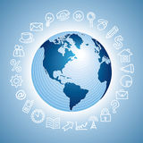 Navigation icon with globe Stock Photos