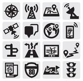 Navigation icons. Vector black navigation icons set on gray Royalty Free Stock Image