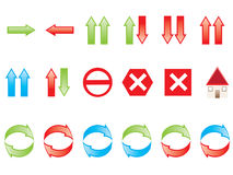 Navigation icons. Vectors of colorful navigation icons Stock Images