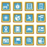 Navigation icons azure. Navigation icons set in azur color isolated vector illustration for web and any design Stock Photo