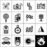 Navigation Icons Black. Set with satellite gps navigator maps routes isolated vector illustration Stock Images
