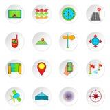 Navigation icons, cartoon style. Navigation icons set. Cartoon illustration of 16 navigation vector icons for web Stock Photos