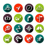 Navigation Icons Flat Design. Collection of vector navigation icons - maps, location, GPS in flat design style Stock Image