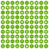 100 navigation icons hexagon green. 100 navigation icons set in green hexagon isolated vector illustration Stock Images