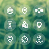 Navigation icons, location marks, map pointers Stock Photography