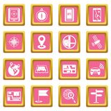 Navigation icons pink. Navigation icons set in pink color isolated vector illustration for web and any design Stock Images