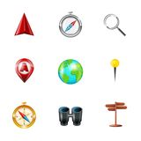 Navigation icons realistic set Royalty Free Stock Images