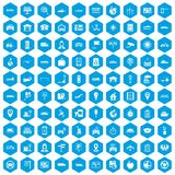 100 navigation icons set blue. 100 navigation icons set in blue hexagon isolated vector illustration Stock Photography