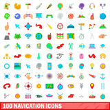 100 navigation icons set, cartoon style. 100 navigation icons set in cartoon style for any design vector illustration Stock Photography