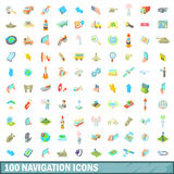 100 navigation icons set, cartoon style Stock Image