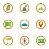 Navigation icons set, cartoon style Royalty Free Stock Photos