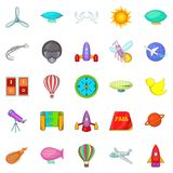 Navigation icons set, cartoon style Royalty Free Stock Photo