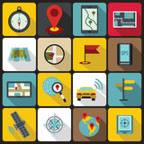 Navigation icons set, flat ctyle Stock Photos
