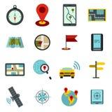 Navigation icons set, flat ctyle Royalty Free Stock Photography