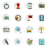 Navigation icons set, flat style Royalty Free Stock Images