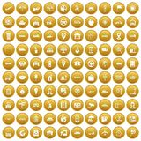 100 navigation icons set gold. 100 navigation icons set in gold circle isolated on white vector illustration Stock Photography