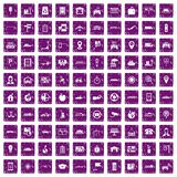 100 navigation icons set grunge purple Stock Images