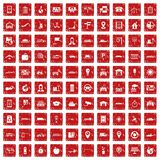 100 navigation icons set grunge red. 100 navigation icons set in grunge style red color isolated on white background vector illustration stock illustration