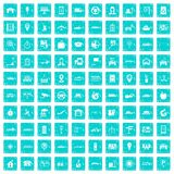 100 navigation icons set grunge blue. 100 navigation icons set in grunge style blue color isolated on white background vector illustration Stock Photos
