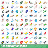 100 navigation icons set, isometric 3d style Stock Photo