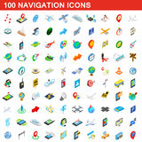 100 navigation icons set, isometric 3d style Royalty Free Stock Images
