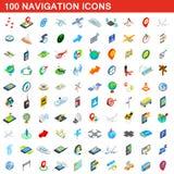 100 navigation icons set, isometric 3d style. 100 navigation icons set in isometric 3d style for any design illustration stock illustration