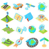 Navigation icons set, isometric 3d style style Royalty Free Stock Photo