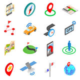 Navigation icons set, isometric 3d style Stock Images