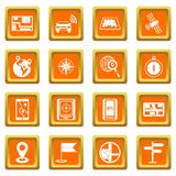 Navigation icons set orange. Navigation icons set in orange color isolated vector illustration for web and any design Royalty Free Stock Images