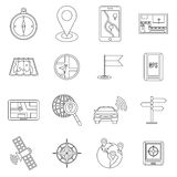 Navigation icons set, outline ctyle Stock Images