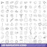 100 navigation icons set, outline style. 100 navigation icons set in outline style for any design illustration stock illustration