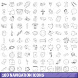 100 navigation icons set, outline style. 100 navigation icons set in outline style for any design vector illustration Royalty Free Stock Images