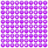 100 navigation icons set purple. 100 navigation icons set in purple circle isolated on white vector illustration Royalty Free Stock Image