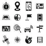 Navigation icons set, simple. Navigation icons set in simple . Location on terrain set collection vector illustration Stock Image