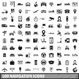 100 navigation icons set, simple style. 100 navigation icons set in simple style for any design vector illustration Stock Photos