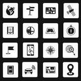 Navigation icons set, simple style Stock Photo