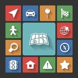 Navigation icons set, squared shadows Stock Images