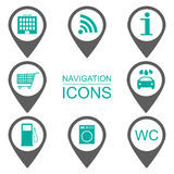 Navigation icons. Silhouette icons. Scope of services. Flat design.  Stock Image