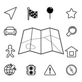 Navigation iconset, contour flat. Isolated vector illustration Royalty Free Stock Image