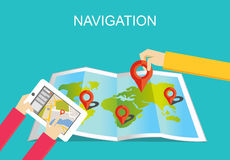 Navigation illustration. Location finding and map marker concept Royalty Free Stock Photography
