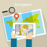 Navigation illustration. Location finding and map marker concept Royalty Free Stock Photos