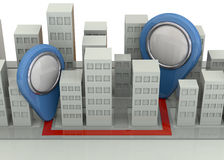 Navigation im Stadt-Konzept - 3D Lizenzfreie Stockbilder