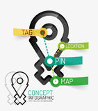 Navigation infographic keywords, line style Stock Photo