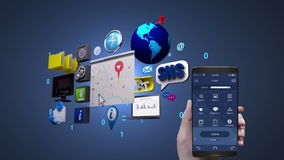 Navigation information application using mobile, smart phone, Car infotainment system, car entertainment, social media. Information application, using mobile stock video footage